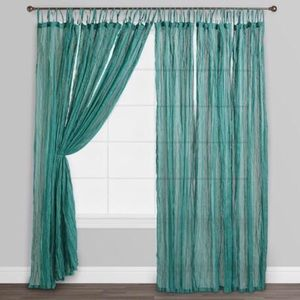 World Market Blue Crinkle Voile Cotton Curtains